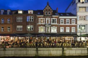 Denmark, Jutland, Aarhus, Canal Side Cafes, Evening by Walter Bibikow
