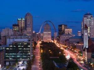 Downtown and Gateway Arch at Night, St. Louis, Missouri, USA by Walter Bibikow