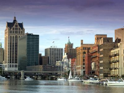 Downtown Milwaukee and Milwaukee River, Wisconsin by Walter Bibikow