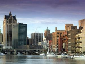 Downtown Milwaukee and Milwaukee River, Wisconsin by Walter Bibikow