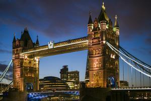 England, London, Tower Bridge, Dusk by Walter Bibikow