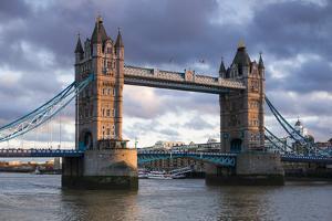 England, London, Tower Bridge, Sunset by Walter Bibikow
