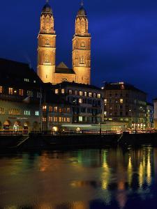 Evening, River Limmat, Zurich, Switzerland by Walter Bibikow