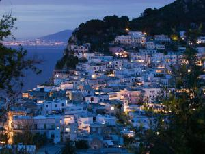 Evening View of Capri Town from Via Castello, Bay of Naples, Campania, Italy by Walter Bibikow