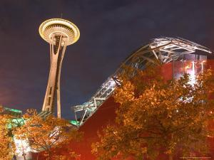 Experience Music Project (EMP) with Space Needle, Seattle, Washington, USA by Walter Bibikow