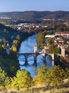 France, Midi-Pyrenees Region, Lot Department, Cahors, Pont Valentre, Midieval Bridge, Lot River by Walter Bibikow