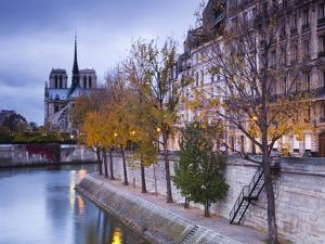 France, Paris, Cathedral Notre Dame Cathedral and Ile St-Louis, Dawn by Walter Bibikow