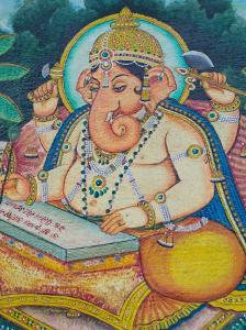 Ganesh Mural in the City Palace, Rajasthan, India by Walter Bibikow