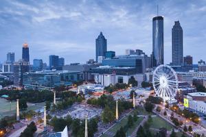 Georgia, Atlanta, Centennial Olympic Park, Elevated City View at Dusk by Walter Bibikow