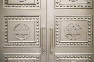 Georgia, Batumi. Batumi Synagogue, built 1904, door detail with Stars of David. by Walter Bibikow