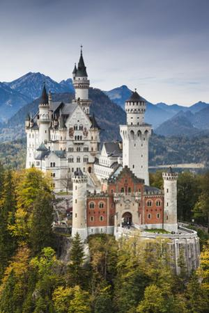 Germany, Bavaria, Hohenschwangau, Elevated View of a Castle in the Fall by Walter Bibikow