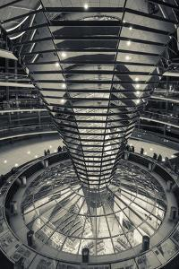 Germany, Berlin, Reichstag, Dome Interior, Evening by Walter Bibikow