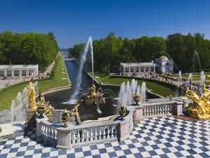 Grand Cascade Fountains, Peterhof, Saint Petersburg, Russia by Walter Bibikow
