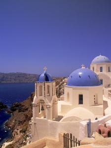 Greek Church, Santorini, Greece by Walter Bibikow