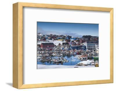 Greenland, Disko Bay, Ilulissat, Town Harbor, Elevated View