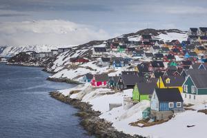 Greenland, Nuuk, City Skyline with Sermitsiaq Mountain by Walter Bibikow