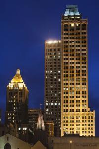 High-Rise Buildings, Art-Deco District at Dusk, Tulsa, Oklahoma, USA by Walter Bibikow