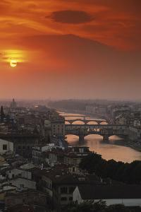 Italy, Florence, Tuscany. Central Florence at Sunset by Walter Bibikow