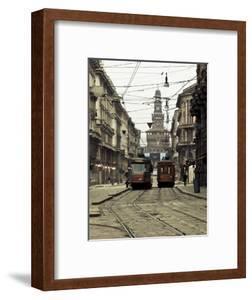 Italy, Lombardy, Milan, Milan Trams on Via Orefici with Castello Sforzesco, Dawn by Walter Bibikow