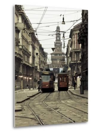 Italy, Lombardy, Milan, Milan Trams on Via Orefici with Castello Sforzesco, Dawn