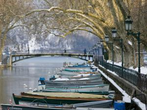 Lake Annecy and Boats Along Canal du Vasse, Annecy, French Alps, Savoie, Chambery, France by Walter Bibikow
