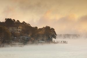 Lake Hamilton, Autumn Fog at Dawn, Hot Springs, Arkansas, USA by Walter Bibikow
