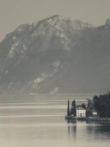 Lombardy, Lakes Region, Lake Como-Lake Lecco, Oliveto, Villa and Mountains, Italy by Walter Bibikow