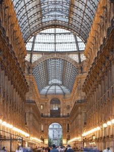 Lombardy, Milan, Galleria Vittorio Emanuele Ii, Shopping Arcade, Interior, Evening, Italy by Walter Bibikow