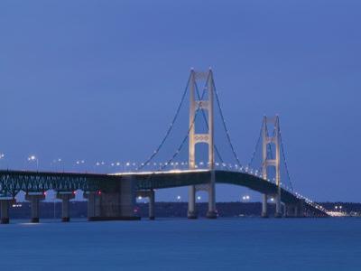 Mackinac Bridge, Straits of Mackinac Between Lakes Michigan and Huron, Michigan, USA by Walter Bibikow