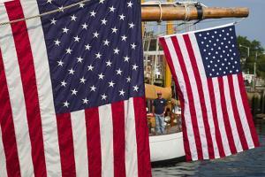 Massachusetts, Cape Ann, Annual Schooner Festival, Us Flag by Walter Bibikow