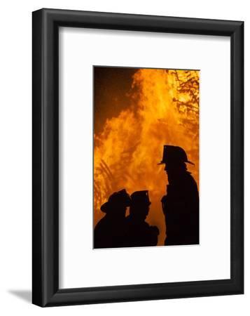 Massachusetts, Cape Ann, Fourth of July Bonfire, Silhouette of Firemen