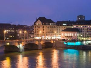 Mittlere Rhinebrucke and Rhine River, Basel, Switzerland by Walter Bibikow