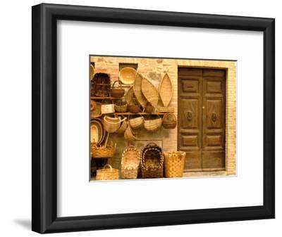 Montalcino, Basket Seller and Wall, Tuscany, Italy
