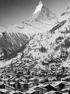 Morning Town View with Matterhorn, Zermatt, Valais, Wallis, Switzerland by Walter Bibikow