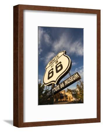National Route 66 Sign at Sunset, Elk City, Oklahoma, USA