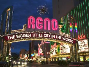 Neon Reno Sign on North Virginia Street, Nevada, USA by Walter Bibikow