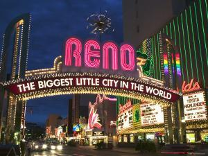 Neon Reno Sign on North Virginia Street, Nevada, USA by Walter Bibikow