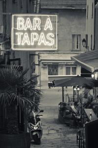 Neon Sign for Tapas Bar, Dusk, Ile Rousse, La Balagne, Corsica, France by Walter Bibikow