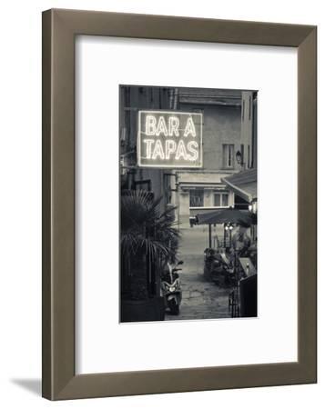 Neon Sign for Tapas Bar, Dusk, Ile Rousse, La Balagne, Corsica, France