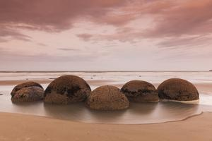 New Zealand, South Island, Otago, Moeraki, Moeraki Boulders, dusk by Walter Bibikow