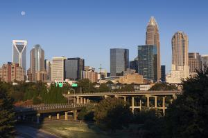 North Carolina, Charlotte, City Skyline from Route 74, Morning by Walter Bibikow