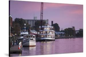 North Carolina, Wilmington, River Boats on the Cape Fear River, Dusk by Walter Bibikow