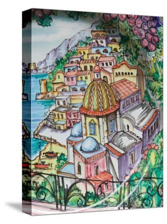 Painting of Positano on Ceramic Plate, Positano, Amalfi Coast, Campania, Italy