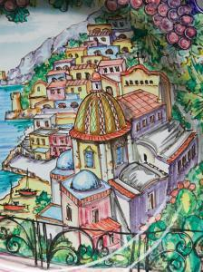 Painting of Positano on Ceramic Plate, Positano, Amalfi Coast, Campania, Italy by Walter Bibikow
