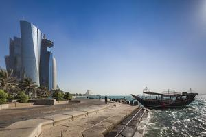 Qatar, Doha, Doha Bay, West Bay Skyscrapers from the Corniche, Morning by Walter Bibikow