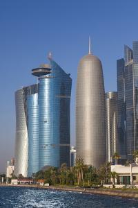 Qatar, Doha, Doha Bay, West Bay Skyscrapers with World Trade Center and Burj Qatar by Walter Bibikow