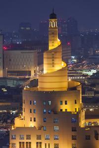 Qatar, Doha, Fanar, Qatar Islamic Cultural Center, Elevated View, Dusk by Walter Bibikow