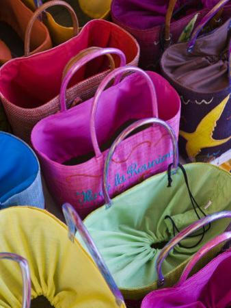 Reunion-made bags for sale, Covered Market, St-Paul, Reunion Island, France