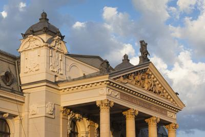 Romania, Moldavia, Iasi, Vasile Alecsandri National Theater at Sunset