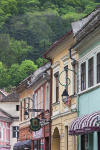 Romania, Transylvania, Brasov, Building Detail by Walter Bibikow